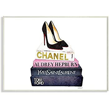 Stupell Industries Glam Fashion Book Set Black Pump Heels Wall Plaque Art,  Proudly Made In USA