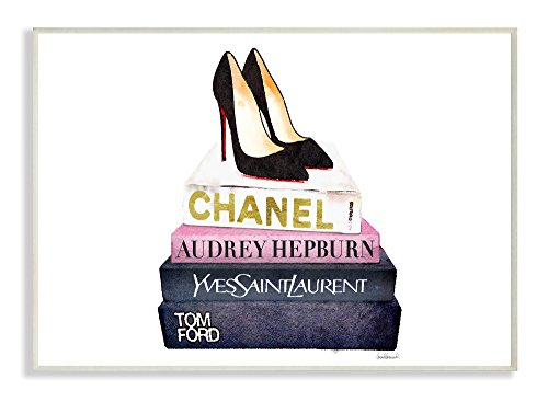 The Stupell Home Decor Collection Stupell Industries Glam Fashion Book Set Black Pump Heels Wall Plaque Art, Proudly Made in USA - Fashion Art