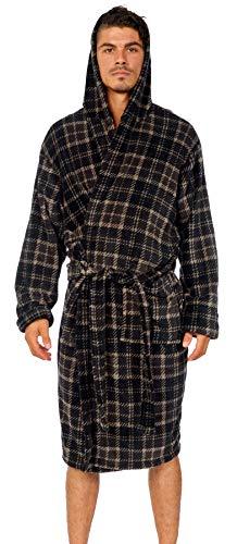 (Wanted Men's Lightweight Plush Fleece Hooded Spa Robe (Grey/Black Plaid,)