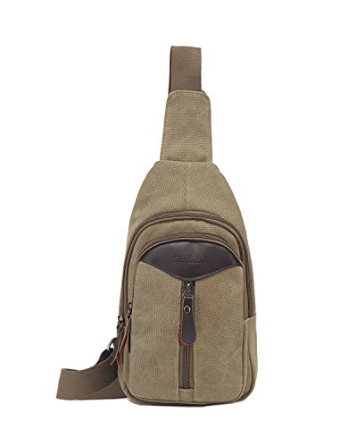 Canvas Unbalance Backpack Crossbody Shoulder Chest Small Travel Bag Men Women Khaki from Pnvocny