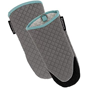 Cuisinart Silicone Oven Mitts, 2pk - Heat Resistant Quilted Oven Gloves to Safely Handle Hot Cookware - Soft Insulated Deep Pockets, Non-Slip Grip and Convenient Hanging Loop - Drizzle Grey