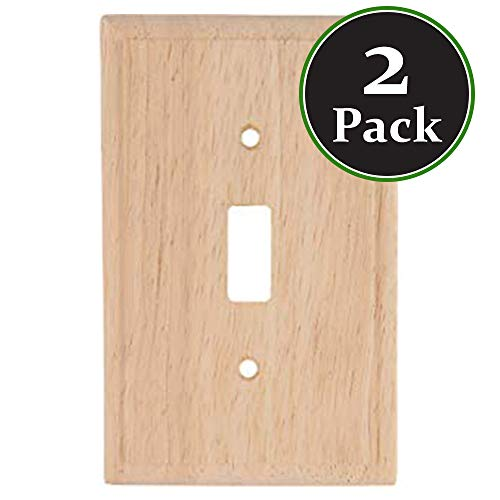2 Pack Decorator Wood Wooden SingleSwitch Unfinished Standard Size Devices Timer Sensor Oak Finish Light WallPlate Outlet Cover Wall Plate for Dimmer,Light Switch Ready for Paint or ()