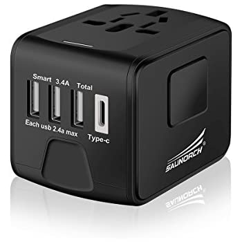 SAUNORCH Universal International Travel Power Adapter W/ High Speed 2.4A USB, 3.0A USB Type-C Wall Charger, European Adapter, Worldwide AC Outlet Plugs for Europe, UK, US, AU, Asia-Black