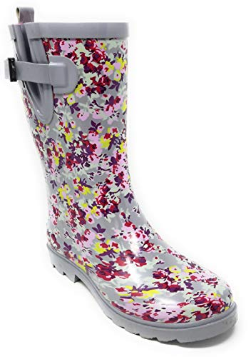"Forever Young Women Rubber Rain Boots Mid-Calf 11"" Classic Waterproof Colorful Designs Wellies Cherry Bloom"
