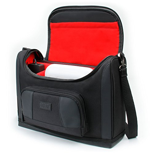 USA GEAR S7P Wireless Compact Photo Printer Carrying Case - Messenger Bag Compatible with Canon SELPHY CP1300 / CP1200 / CP900 / Ivy, Kodak Dock/Mini, Instax Share SP-3 / SP-2, HP Sprocket (Red) ()