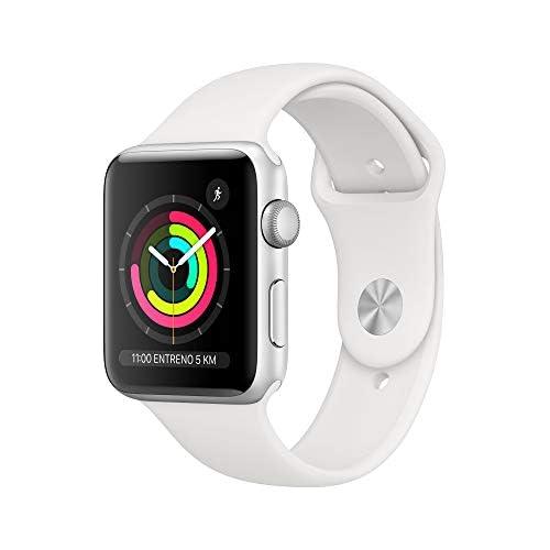 chollos oferta descuentos barato Apple Watch Series 3 GPS con caja de 42 mm de aluminio en plata y correa deportiva Blanca