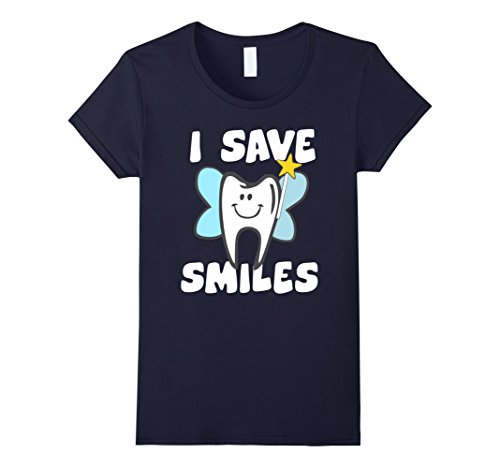 Women's I Save Smiles Dental Health T-Shirt Small Navy