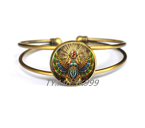 Yao0dianxku Egyptian Scarab Bracelets, ancient egypt jewelry, Egypt Bracelet, Egyptian jewelry, Scarab Bracelet, Scarab Jewelry, Historical Bracelets.Y112 (2) ()