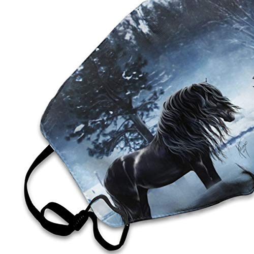 Winter Horses Dust Mask, Reusable Washable Mouth Masks, Adjustable Warm Face Mask Unique Cover Filters Blocking Pollen Pollution Germs