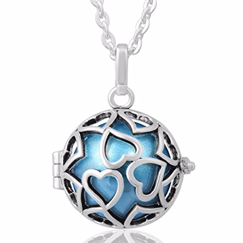 Eudora Harmony Bola Endless Love Locket Pandent Necklace 20mm Musical Chime Ball & 30'' Chain dodger blue