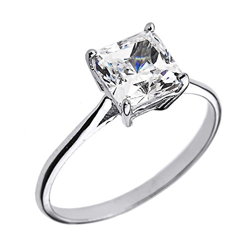 10k White Gold CZ Princess Cut Solitaire Engagement Ring(Size 7.25) ()