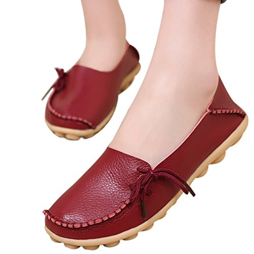 Moccasin Adibosy Casual Flat Slip Loafers Women Leather Driving on Burgundy Shoes Indoor CIrq1Cw