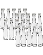 20 tomma miniglasflaskor lång 40 ml silverglasflaskor små flaskor inkl. skruvlock likörflaskor för egen fyllning av snapsflaskor vinägerflaskor