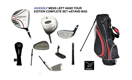AGXGOLF Mens Left Hand Magnum Tour Edition Golf Club Set wOverSize Graphite Shaft Driver, 5 Wood & 7 Utility Wood: Callaway Type 3-9 Irons + PW & SW + Stand Bag + Putter: Cadet, Regular & Tall Lengths