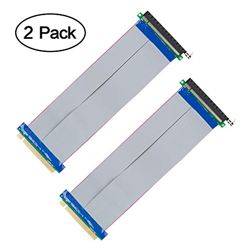 PCI Express 16x Flexible Cable, VANDESAIL 2Pack 20cm PCI Express 16x Flexible Cable Riser Card Extension Port Adapter (2 Pack, PCI-E Express Cable Card 20cm) (2 Pack, PCI-E Express Cable Card 20cm)