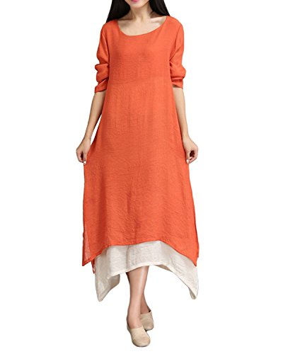 ZANZEA Ladies Cotton Linen A-line Half Sleeve Split Hem Baggy Long Maxi Dress Orange 14