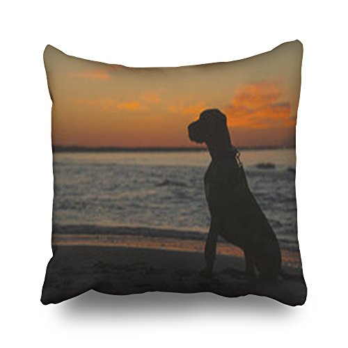 - Custom Decorative Throw Pillows Covers Silhouette Great Dane Dog Sitting On Square 20 x 20 Inches Pillowcase Design Home Decor Sofa Cushion Pillow Cases