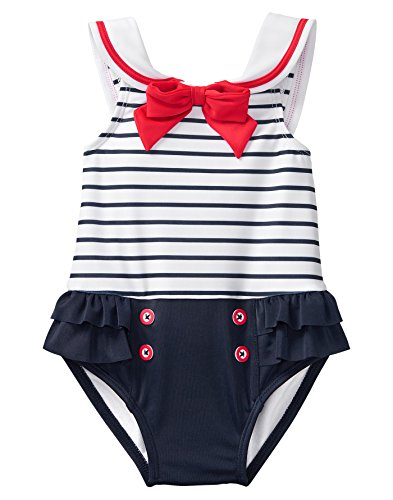 Gymboree Girls 1-Piece Sailor Swimsuit, Navy Stripe, 0-3 Mo