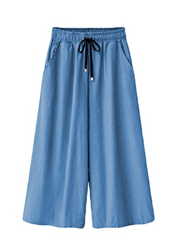 3 Donna Lungo Pantaloni Chiaro Wide leg Pantaloni Annata Blu Casuale YiLianDa 4 Sciolto PHnwSxSU