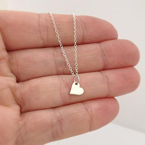 sterling silver mini heart necklace - 18 length