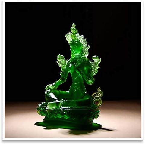Scultura Buddista della compassione e Portafortuna Decorazione per la casa Prime Fengshui Statua in Vetro Verde Tara Indiana