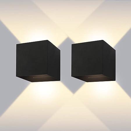 Applique Murale Interieur Exterieur 12w 2 Lampes Murales Noires Led Etanches Ip65 Reglable Lampe Lumiere Orientable Haut Et Bas Design 3000k Blanc