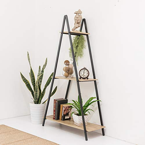 C-Hopetree A Frame Book Shelf Ladder Multipurpose Living Room Display Home Office Storage Metal Plant Stand Vintage Wood Look