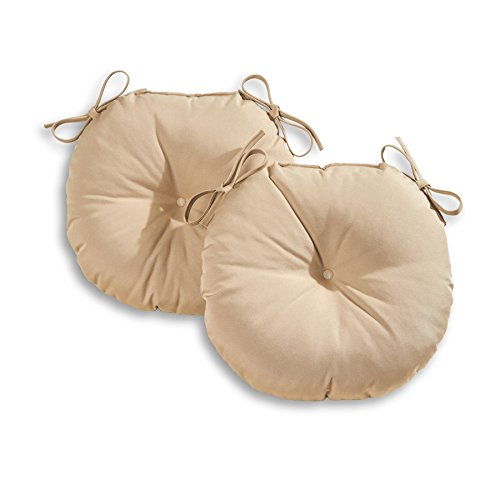 Post Stone Round (Greendale Home Fashions 18 in. Round Outdoor Bistro Chair Cushion (set of 2), Stone)