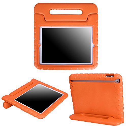 HDE Case for iPad 2 3 4 - Kids Shock Proof Heavy Duty Impact Resistant Protective Cover Handle Stand for Apple iPad 2nd 3rd 4th Generation Tablet (Orange)