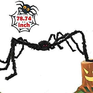 6.5ft Large Halloween Decorations Outdoor Spider Posable Furry Black Giant Scary Fuzzy Spiders Outside Indoor Yard Web Decor Party Favor