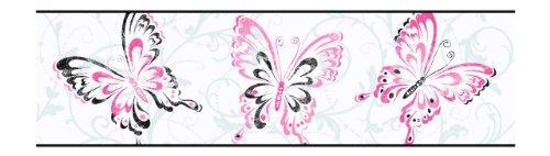 Monarch Palette - York Wallcoverings BG1721B Butterfly/Scroll Border