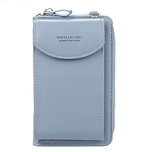 Ecosway – Portefeuille pour femme – Grand porte-cartes – Sac à main – Couleur unie – Pochette diagonale – Pochette…