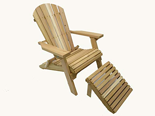 Kilmer Creek Folding Natural Cedar Adirondack Chair with Ottoman Footstool, Amish - Cedar Ottoman Unfinished