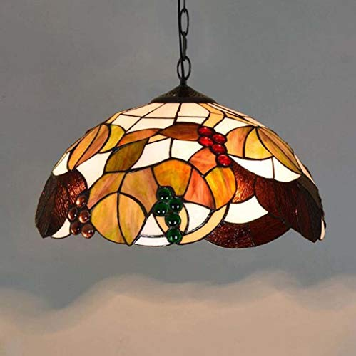 ChuanHan Tiffany Style Chandelier/Pendant Lamp, 16-Inch American Creative Stained Glass Grape Design Pendant Light, Modern Minimalist Parlour Dining Room Bar Art Hanging Lights E27