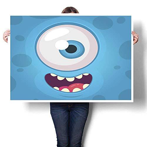 Anyangeight Wall Art Oil Paintings Funny Monster One Eye Face Vector Illustration Halloween Cartoon Monster Decorative Fine Art Canvas Print Poster K 36