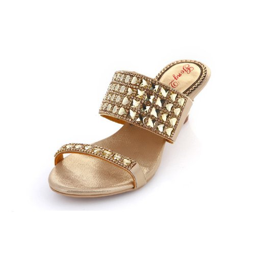 Abby Mns-t010 Womens Nobile Comfort Wedding Party Sposa Unico In Pelle Sandali Con Tacco Basso In Oro