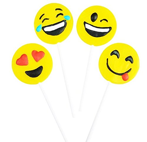 Play Kreative Yellow Emoji Face Lollipop 4'' - 12 Emoticon Frosted Lollipo Suckers