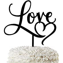 Love Wedding Cake Topper with Heart Black Acrylic Cursive Letters (Love with Heart)