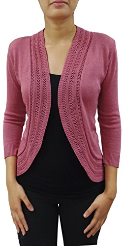 Bonnie Rose Juniors' Shrug with Lace Detail (Large, Dusty Pink)