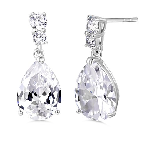 Silver Engagement Earrings (GULICX Silver Tone White CZ Clear Zircon Engagement Party Women Sparkle Dangle Earrings)