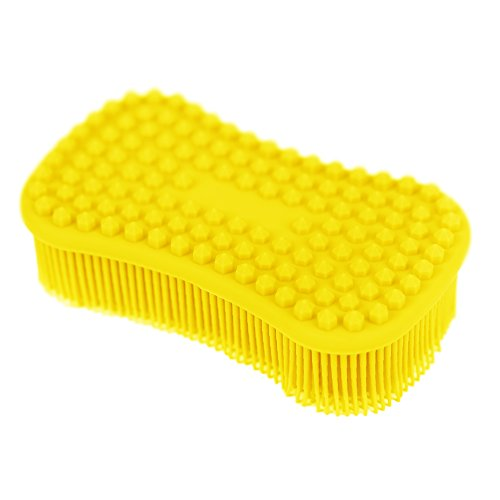 Lemon Sponge - TOPHOME Silicone Dish Sponge Scrubber, Antibacterial Cleaning Food-grade Brush for Kitchen Dishwash, Non-stick Bowls, Pans, pots Kids Tableware Reusable lemon Yellow