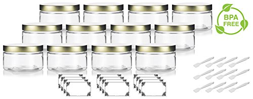 Clear 4 oz / 120 ml PET Plastic (BPA Free) Refillable Low Profile Jar with Gold Metal Lid (12 Pack) + Spatulas and Labels
