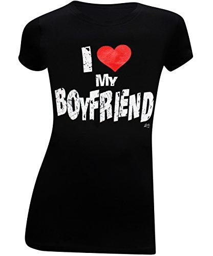 I Love My Boyfriend Womens Slim Juniors Fitted T-Shirt - (Medium) - Black