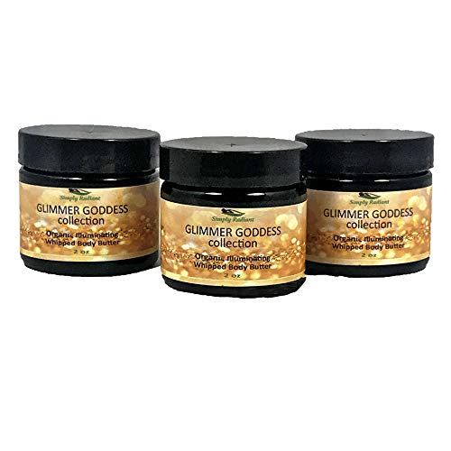 - Organic Shimmer Whipped Body Butter Gift Set Trio of Sexy Sparkle For Natural Skin Radiance Bronze, Diamond & Gold 2 oz jars– Chemical Free Shimmering Moisturizer - Glimmer Goddess
