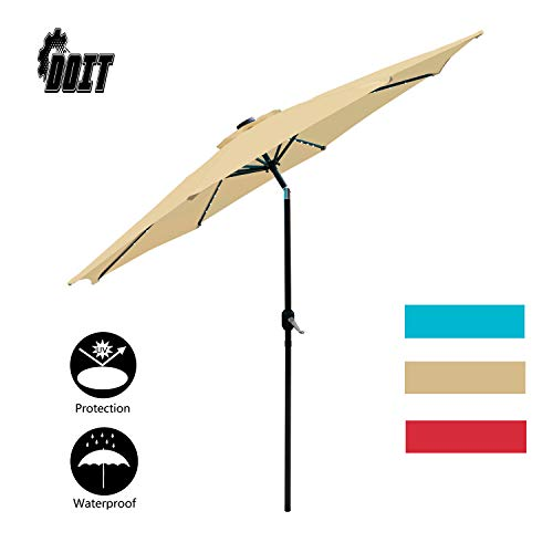 DOIT 10ft Solar LED Lighted Patio Table Umbrella with Crank and 8 Ribs,Tilt Adjustment Outdoor Umbrella with Fade Resistant Water Proof Fabric and Push Button,Polyester Canopy Without Base