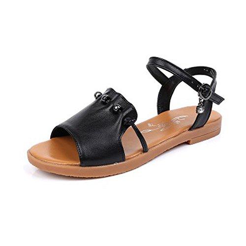 Plus Size Genuine Leather Sandals Women Shoes Ladies Solid Color Flat Summer Beach Shoes,Black,11
