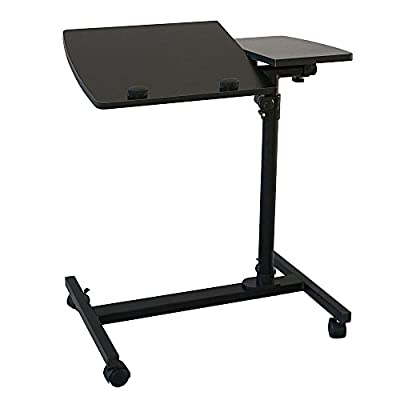 FCH Adjustable Laptop Stand with Tilting Function Rolling Lap Desk Cart Mobile Computer Table,Black