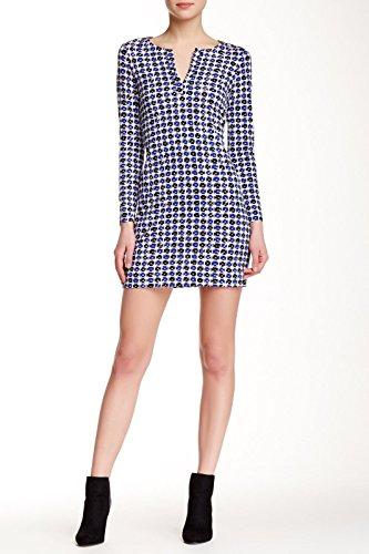 DVF Long-Sleeve Reina Jersey Tunic Dress, Check Dot Blue (2) Diane Von Furstenberg Silk Jersey