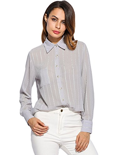 Naggoo Womens Casual Collar Stripped