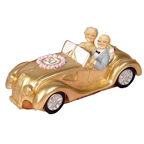 - Luwint 50th Polyresin Statues - Wedding Car Elderly Couple Figurines Collectibles for Parents (Commemorative Coins Bank)